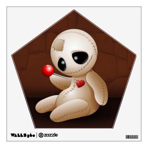 Dibujo animado de la muñeca del vudú en etiqueta d