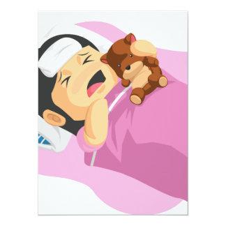 """Dibujo animado de la niña que tiene una fiebre invitación 5.5"""" x 7.5"""""""