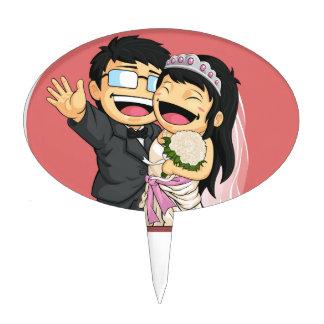 Dibujo animado de la novia y del novio felices del figura de tarta