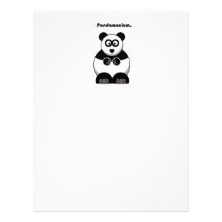 Dibujo animado de la panda de Pandamonium Membrete Personalizado