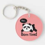 Dibujo animado de la panda linda el dormir llavero redondo acrílico a doble cara
