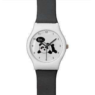 Dibujo animado de la panda linda el dormir relojes