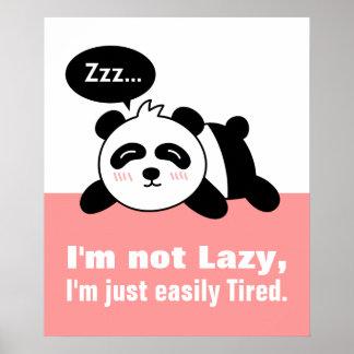 Dibujo animado de la panda linda y perezosa póster