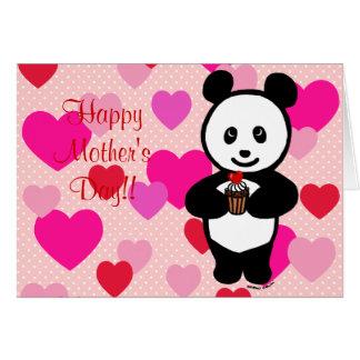 Dibujo animado de la panda y mamá de la magdalena tarjeta de felicitación