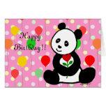 Dibujo animado de la panda y un cumpleaños de la f felicitaciones