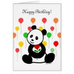 Dibujo animado de la panda y un cumpleaños de la f tarjeta