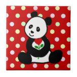 Dibujo animado de la panda y una flor del corazón tejas  cerámicas