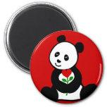 Dibujo animado de la panda y una flor del corazón imanes