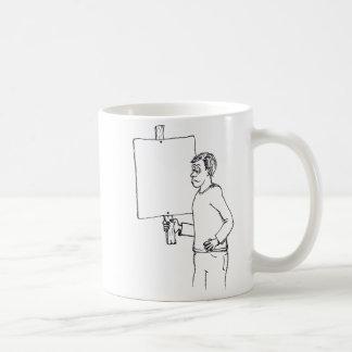 Dibujo animado de la protesta con el tablero en taza de café