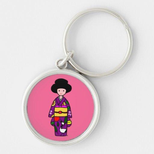 Dibujo animado de la púrpura del chica del kimono llaveros