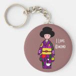 Dibujo animado de la púrpura del chica del kimono llavero personalizado