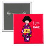 Dibujo animado de la púrpura del chica del kimono pin
