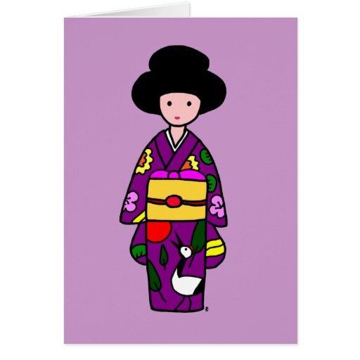 Dibujo animado de la púrpura del chica del kimono tarjetas
