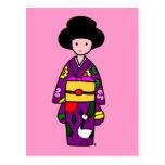 Dibujo animado de la púrpura del chica del kimono postal