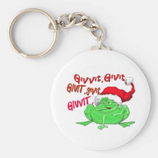 Dibujo animado de la rana con el givit del givit d llavero personalizado