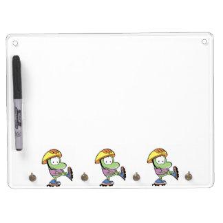 Dibujo animado de la rana de los pcteres de ruedas pizarras