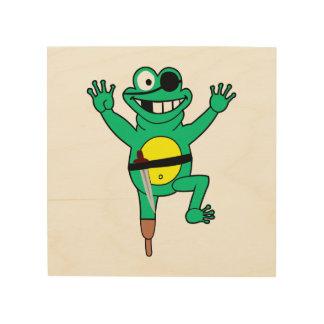Dibujo animado de la rana del pirata impresión en madera