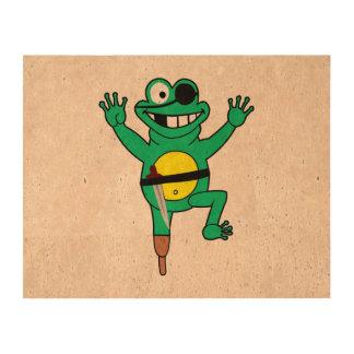 Dibujo animado de la rana del pirata impresiones en corcho