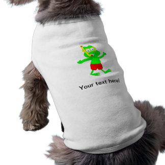 Dibujo animado de la rana que bucea playera sin mangas para perro