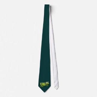 Dibujo animado de la rana verde corbatas personalizadas