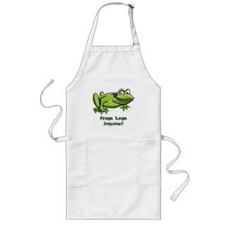 Dibujo animado de la rana verde delantal