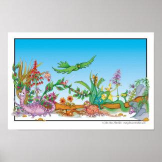Dibujo animado de la selva tropical de Julia Ana S Póster