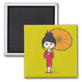 Dibujo animado de la señora del geisha en un fondo imán cuadrado