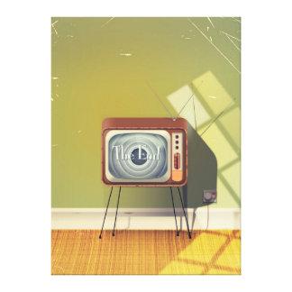 Dibujo animado de la televisión del vintage impresión en lienzo