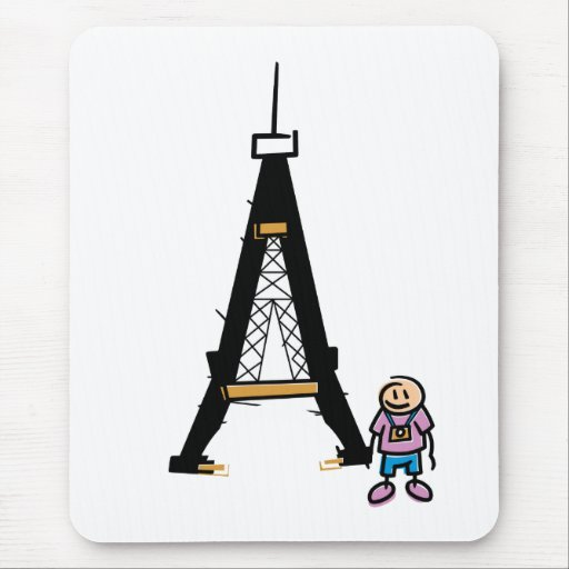 Dibujo animado de la torre Eiffel Alfombrillas De Ratones
