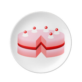 Dibujo animado de la torta de cumpleaños plato de cerámica