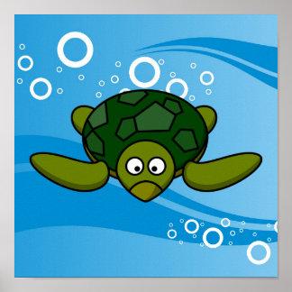 Dibujo animado de la tortuga de mar verde posters