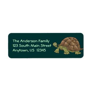Dibujo animado de la tortuga etiqueta de remitente