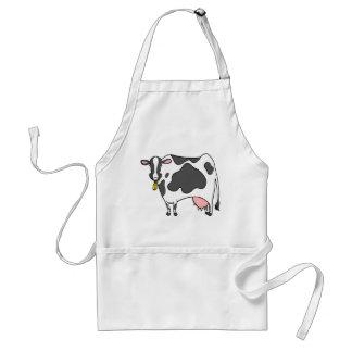 Dibujo animado de la vaca lechera delantal