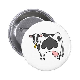 Dibujo animado de la vaca lechera pin redondo de 2 pulgadas