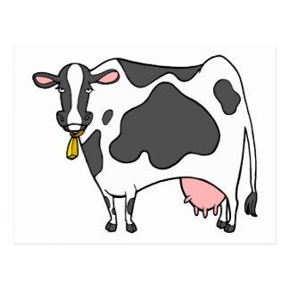 Dibujo animado de la vaca lechera postal
