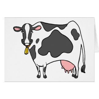 Dibujo animado de la vaca lechera tarjeta de felicitación