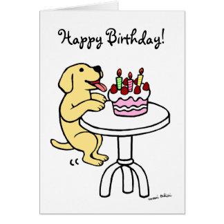 Dibujo animado de Labrador del amarillo de la Tarjeta De Felicitación