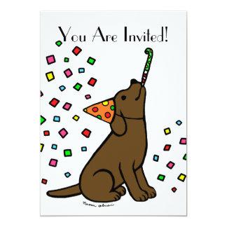 """Dibujo animado de Labrador del chocolate del Invitación 5"""" X 7"""""""