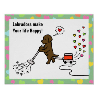 Dibujo animado de Labrador del chocolate Poster