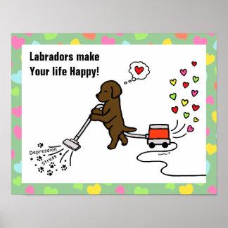 Dibujo animado de Labrador del chocolate Póster
