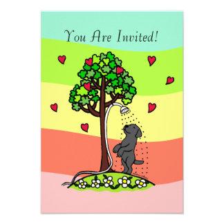 Dibujo animado de Labrador del negro de la diversi Invitacion Personalizada