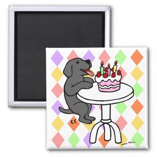 Dibujo animado de Labrador del negro de la torta d Imán De Nevera