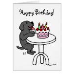 Dibujo animado de Labrador del negro de la torta Tarjeton