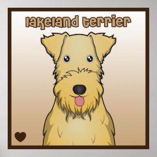Dibujo animado de Lakeland Terrier Póster