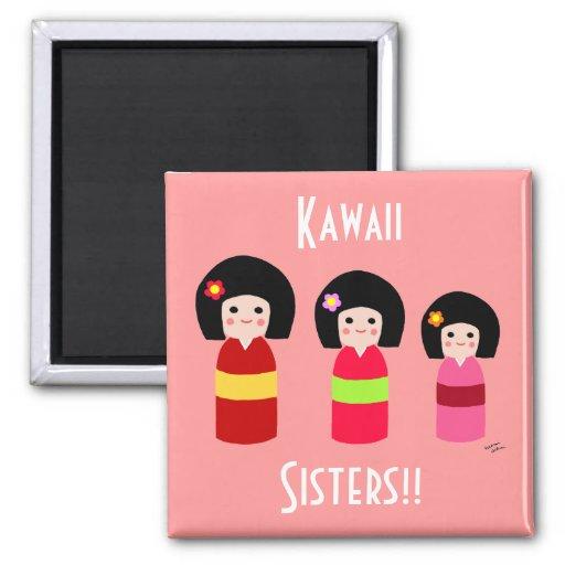 Dibujo animado de las hermanas de la muñeca de Kok Imán Para Frigorífico