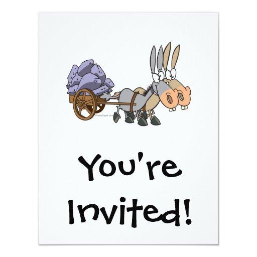 """dibujo animado de las mulas de los burros del invitación 4.25"""" x 5.5"""""""