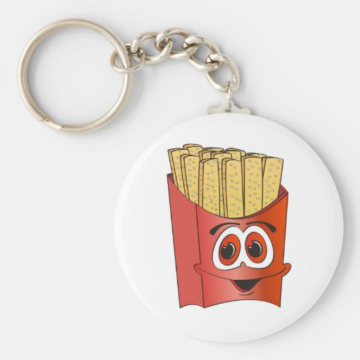 Dibujo animado de las patatas fritas llavero redondo tipo pin