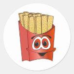 Dibujo animado de las patatas fritas pegatina redonda