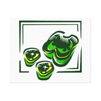 Dibujo animado de las pimientas verdes en cuadrado impresion de lienzo