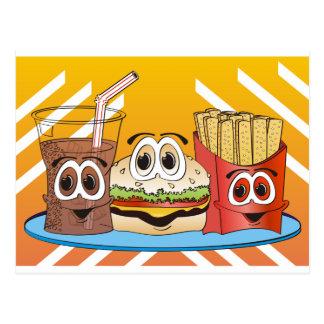 Dibujo animado de los alimentos de preparación postal